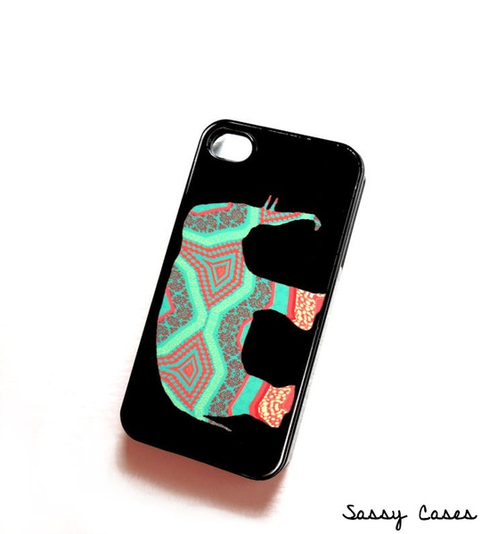Plastic iPhone 4 / 4S Case Elephant in Mint and Coral iPhone Case ORIGINAL Artwork. $15.00, via Etsy.