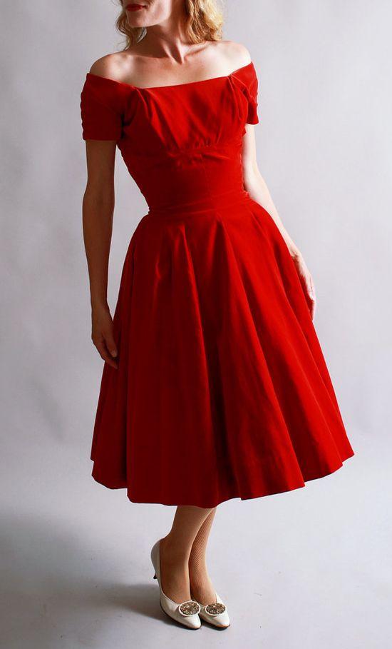 velvet 50's dress