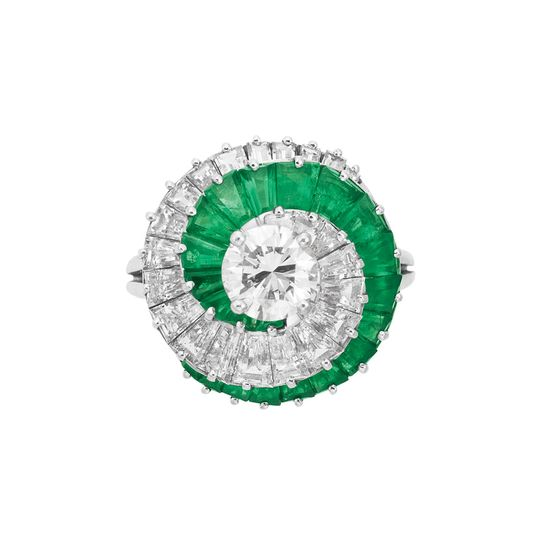 Diamond and emerald spiral ring, Cartier.