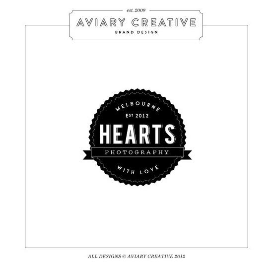 """Pre-made Logo Design """"Hearts Photography"""" / Boutique Graphic Design / Custom Branding. $44.00, via Etsy."""