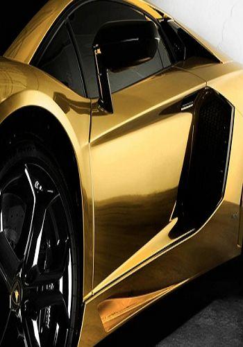 gold Lamborghini @}-,-;--