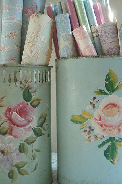Vintage Wallpaper Storage by such pretty things, via Flickr