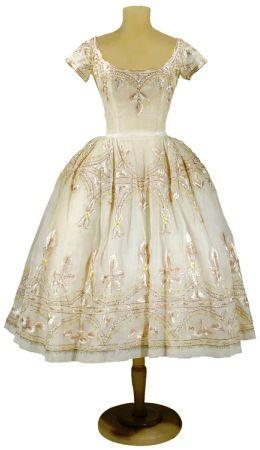 Lanvin Castillo Embroidered Organdy Bouffant Dress, late-1950s