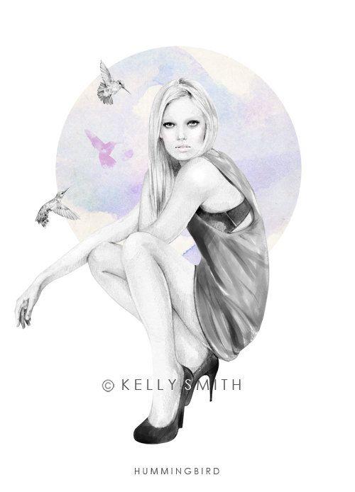 Fashion Illustration: Hummingbird by Kelly Smith