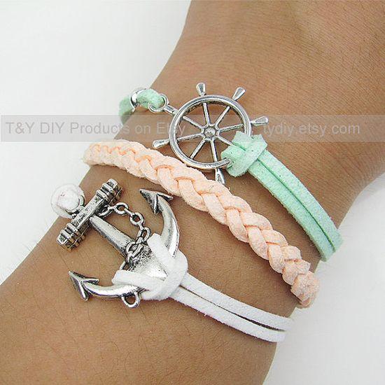 Anchor Bracelet Sailing Helm Bracelet Charm Bracelet Thin by TYdiy, $6.88