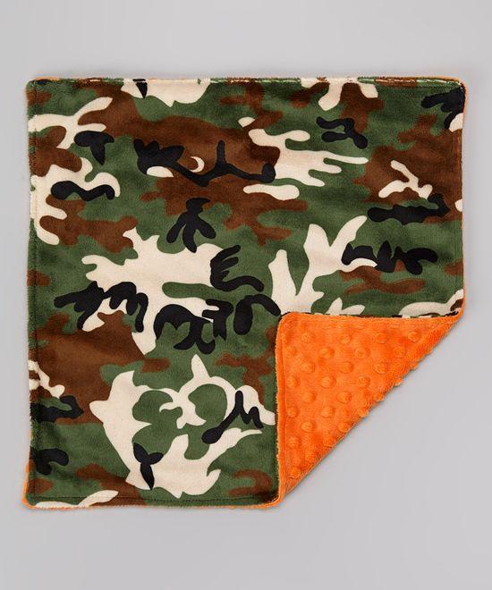 Lolly Gags Orange & Camo Minky Security Blanket