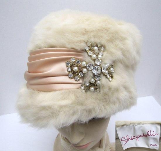 Gorg!~1950s cream fur Schiaparelli hat