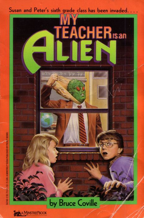 """""""My Teacher Is an Alien"""" by Bruce Coville.  Remember these books?  Is that Harry Potter in the bottom right corner?"""