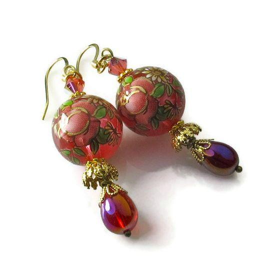 Red Rose Earrings, Floral Earrings, Vintage Inspired Jewelry on Etsy. $18.50, via Etsy.