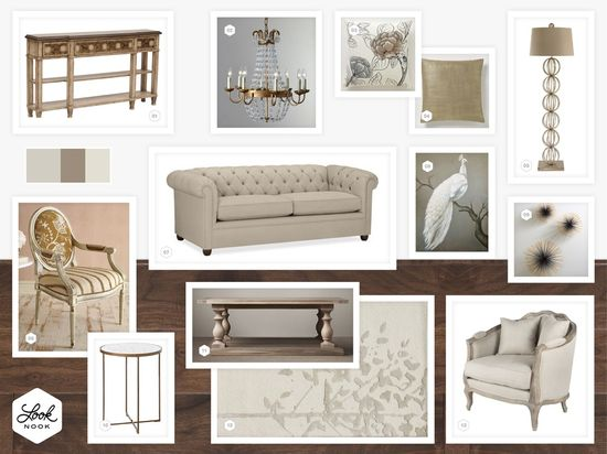 Elegant formal living room design with ivory, blush, and gold tones / / www.LookNook.co