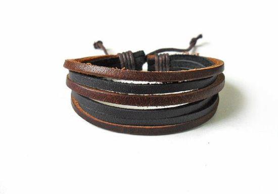 Men bracelet made of coffee and black by braceletbanglecase, $3.00