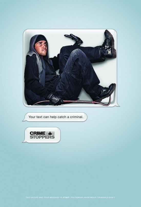 """Your text can help catch a criminal. Crime Stoppers."" #Advertising"