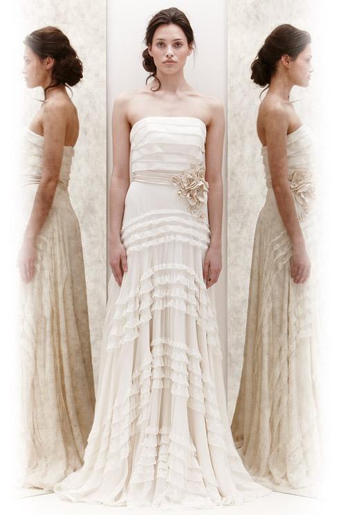 Jenny Packham wedding dress with ruffled skirt, Spring 2013
