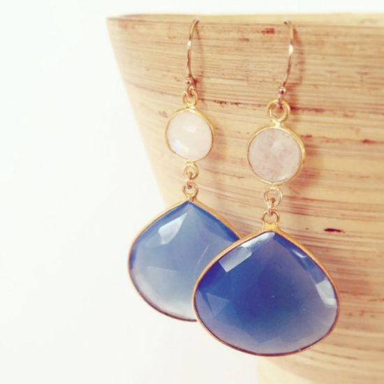 Nautical Earrings, Nautical jewelry, Blue and White Stone Earrings by Aina Kai