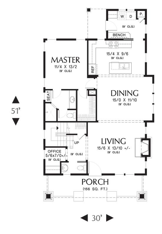 Main Floor Plan of Mascord Plan 21145 - The Morris