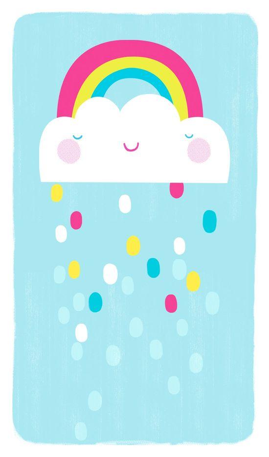 Rainbow, Cloud and Rain phone wallpaper