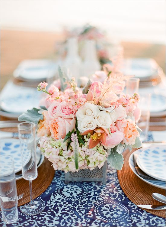 pink, white and blue beach table setting