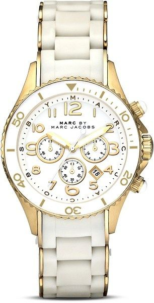 Marc Jacobs white and gold watch