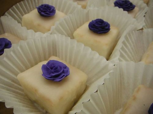 petit fours with handmade roses