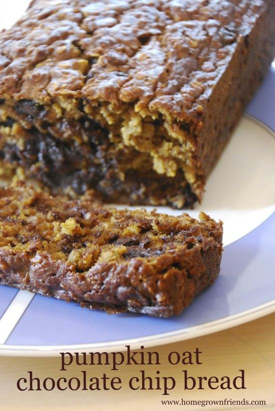Pumpkin Oat Chocolate Chip Bread-  Easy to make bread that tastes delicious!  Recipe @ www.homegrownfrie...