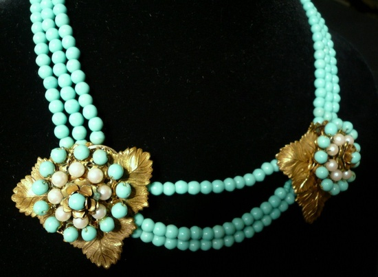 Miriam Haskell Signed Turquoise and Pearl Necklace  1960s. via Etsy.
