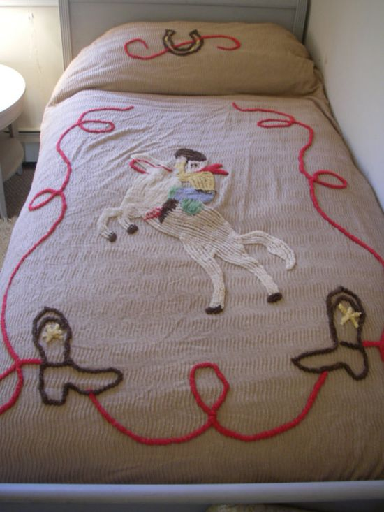 Vintage Chanille Cowboy bed spread by shemoony