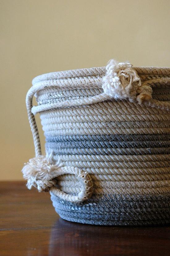 Lovely antique rope basket