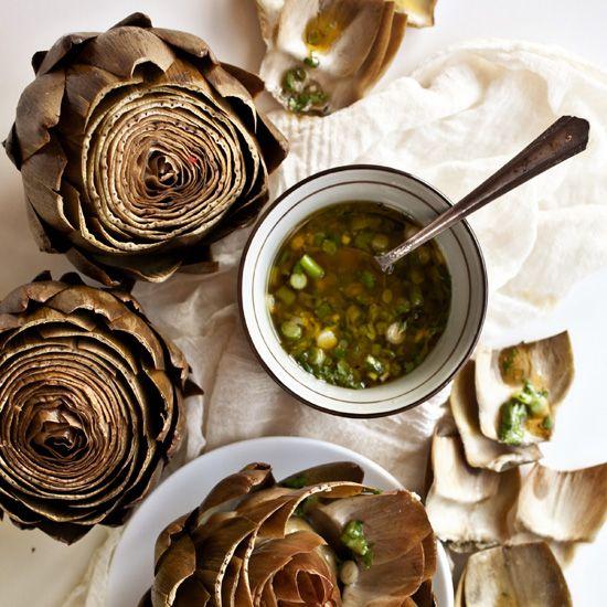 Artichokes with Scallion Vinaigrette // More Artichoke Recipes: www.foodandwine.c... #foodandwine