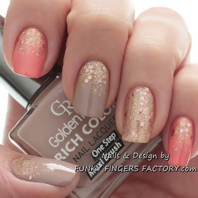 Peach and Nude Glitter Ombre Nails
