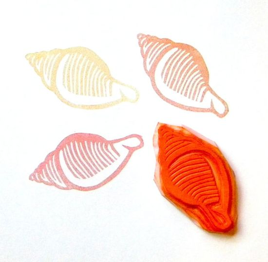 Large shell hand carved rubber stamp