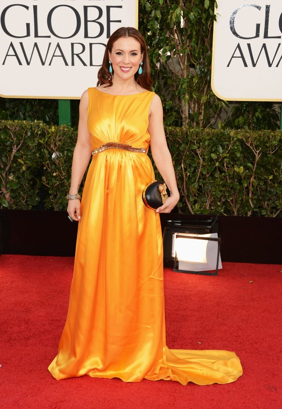 Alyssa Milano on the Golden Globes Red Carpet 2013
