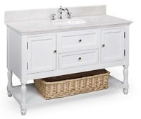 "$999 48"" MARBLE CERAMIC SINK BATHROOM VANITY (17-WT) 