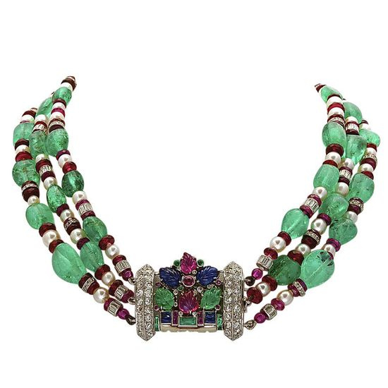 1930 Magnificent Fruit Salad Emerald Bead Detachable Front Necklace