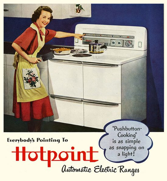 Everyone's Pointing To Hotpoint. #vintage #1940s #kitchen #stoves #appliances #ads