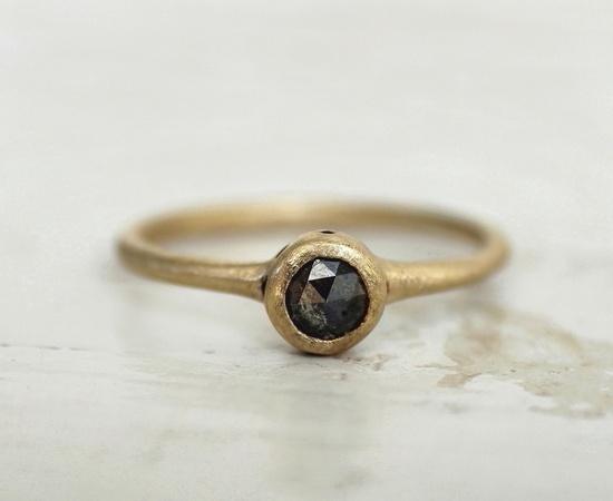 Black rose cut diamond ring. Galaxy dots. Engagement. Juliette.. $765.00, via Etsy.