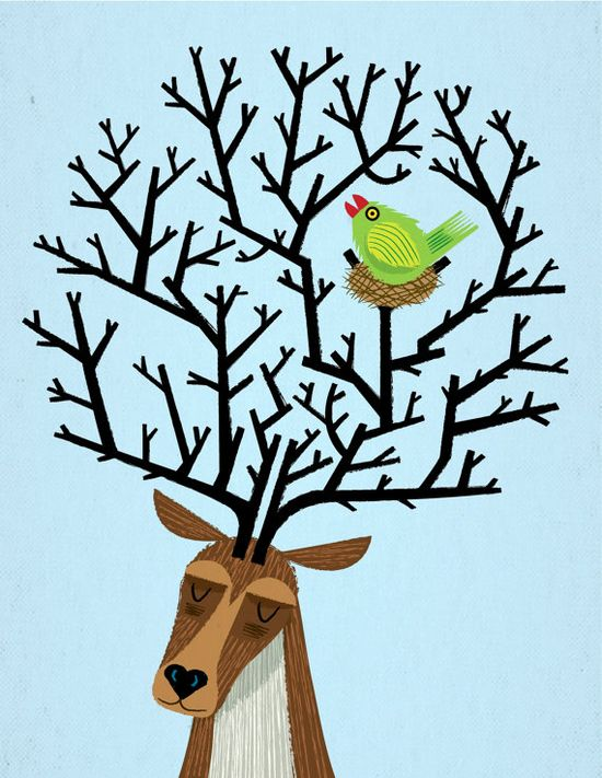 A limited edition illustration titled - 'The Tree Stag and The Green Finch' printed on the finest archival matte canvas paper. $16 #Art #Illustration #Original #Illustration #illustration #children #light #blue #iota #iotaillustration #surreal #humour #cute #whimsical #contemporary #animal #bird #lakeillustration