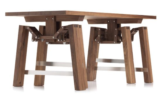 Walking Table by Wouter Scheublein is a carefully crafted piece of furniture that shows the beauty of mechanics. When pushed, the table comes to life and mimics a natural walking motion. Awesome! #Walking_Table #Wouter_Scheublein