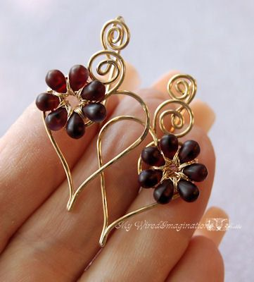 Charming Hearts Earrings in 14k GF Wire with by MyWiredImagination, $52.00