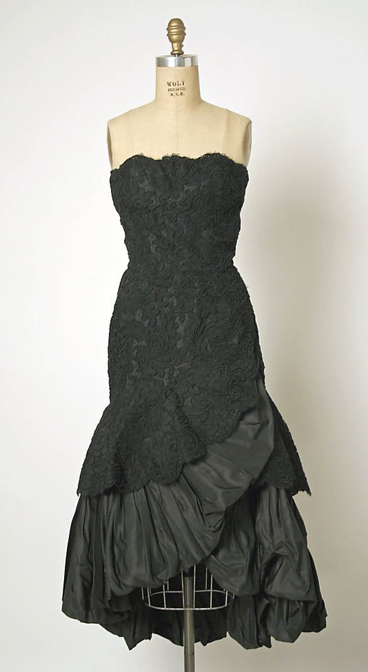 28-10-11 Evening Dress 1951, French, Made of silk and cotton