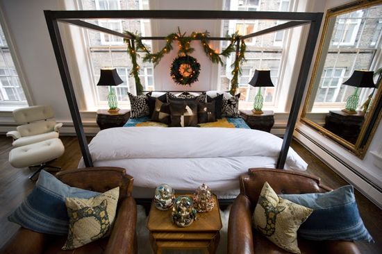 NYC loft bedroom decorated for Christmas