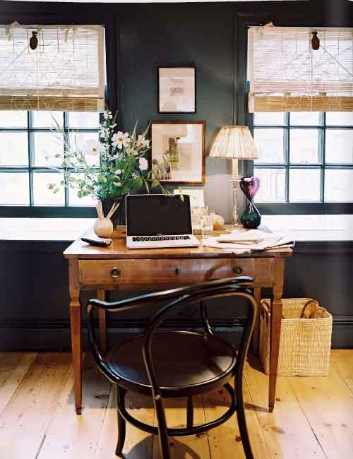 sweet vintage desk and dark walls