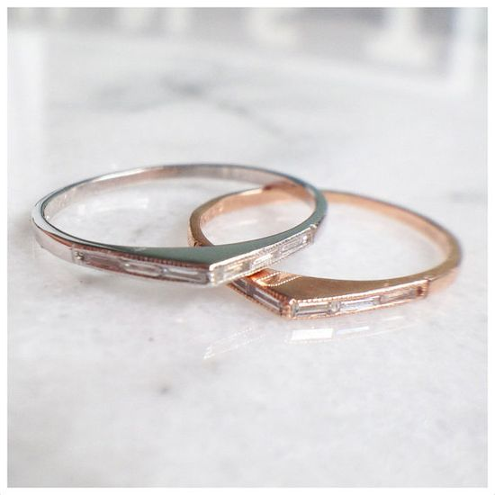 Bateau Ring - 14k and diamond baguettes