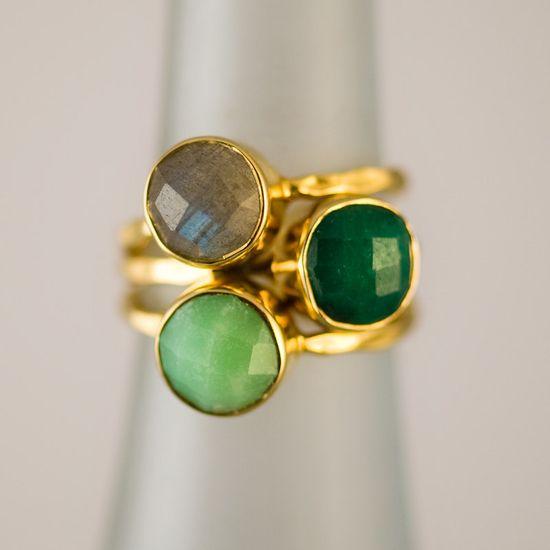 Gemstone Ring ( set of 3) by delezhen