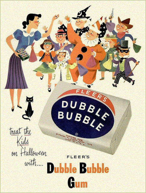 Immensely fun, totally cute Halloween themed ad for Dubble Bubble gum from 1952. #vintage #Halloween #gum #candy #ad #retro #cute #1950s #fifties