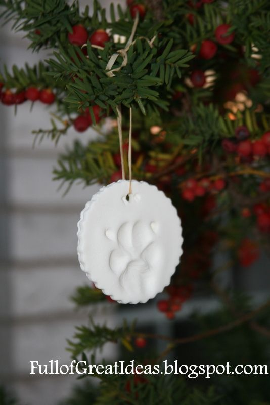 Full of Great Ideas: Your Dog's Paw Print Ornament DIY @Lindsey Ford you should do this for your kitty! I'm trying this out soon!