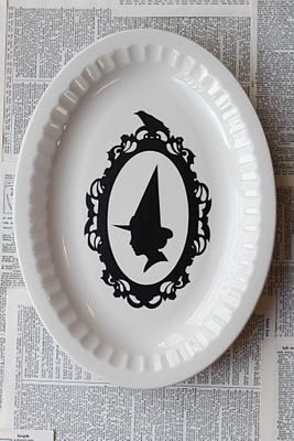 halloween witch silhouette platter