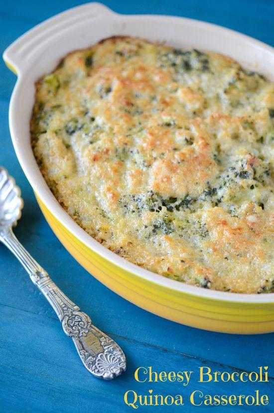 The Novice Chef » Cheesy Broccoli Quinoa Casserole: a healthy alternative to a rice or macaroni casserole by using the quinoa.