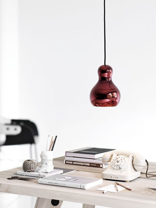 #styling #design #home decoration #red accent #desk #office spaces #style #home interior decorators #decoracao de casas #interior house design