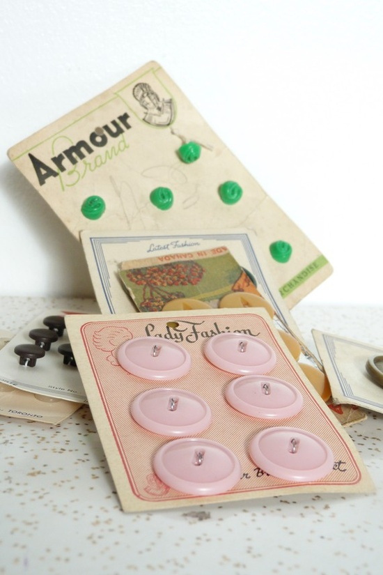 Buttons on card, vintage