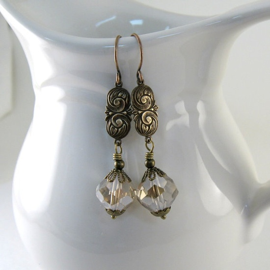 Crystal Brass Earrings Faceted Crystals Antique by CinLynnBoutique, $16.00